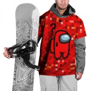 Merch Red Pixel Ski Cape Among Us 8Bit