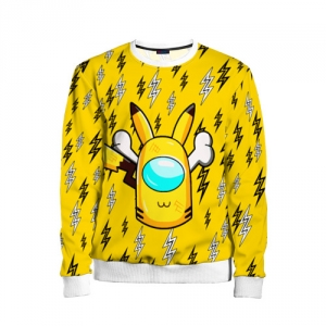 Merch Yellow Kids Sweatshirt Among Us Pikachu