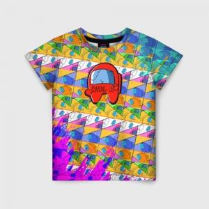 Merchandise Kids T-Shirt Among Us Pattern Colored