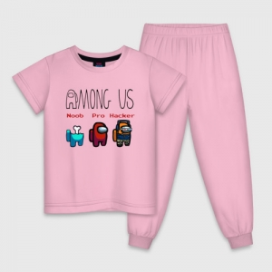 Merch Kids Pajama Among Us Noob Pro Hacker Cotton