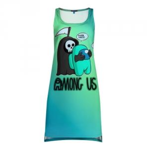 Merchandise Tank-Dress Among Us Death Behind Cyan