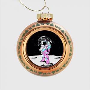 - People 1 Glass Christmas Ball Front Orange 500 26