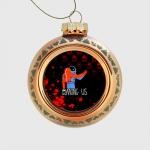 - People 1 Glass Christmas Ball Front Orange 500 27
