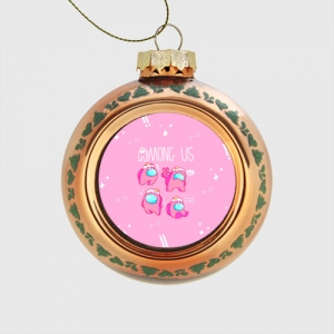Merch Pink Glass Christmas Bauble Among Us Egg Head