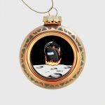 - People 1 Glass Christmas Ball Front Orange 500 32