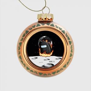 Merch Black Glass Christmas Bauble Among Us Fire