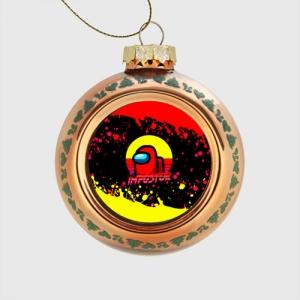 - People 1 Glass Christmas Ball Front Orange 500 39