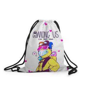 Merchandise - Mom Now Sack Backpack Among Us White Heart Emoji