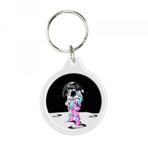 - People 1 Keychain Round Front White 500 138