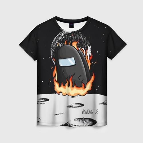 Merchandise Black Women'S T-Shirt Among Us Fire