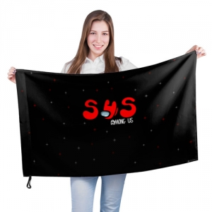 Merch - Large Flag Among Us Sus Red Imposter Black