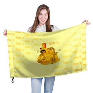 Merchandise - Large Flag Among Us Yellow Imposter Pointing