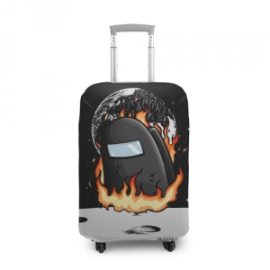Merchandise Black Suitcase Cover Among Us Fire