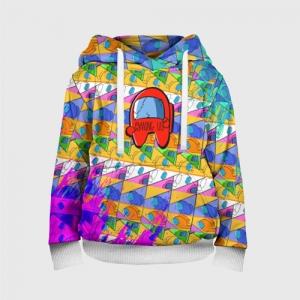 Merchandise Kids Hoodie Among Us Pattern Colored