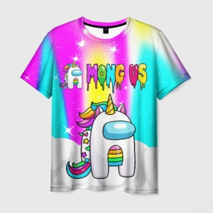 Merch Rainbow Men'S T-Shirt Unicorn Among Us