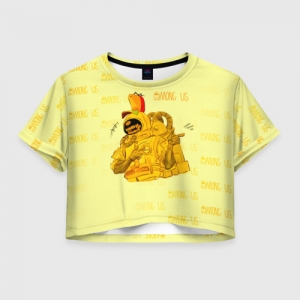 Merch - Women'S Crop-Top Among Us Yellow Imposter Pointing