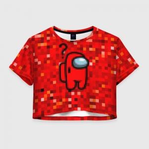 Merch - Red Pixel Women'S Crop-Top Among Us 8Bit