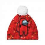 Merchandise Red Pixel Pom Pom Beanie Among Us 8Bit