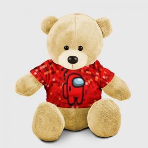 Merchandise Red Pixel Teddy Bear Among Us 8Bit